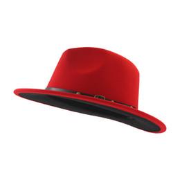 Красная шляпа trilby онлайн-Fashion-Unisex Плоские полевые шерстяные фетровые шляпы с поясом Красный черный пэчворк Джаз Формальная шляпа Панама Кепка Трилби Шапо для мужчин, женщин