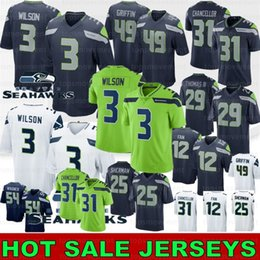 2019 ventiladores 12 3 Russell Wilson Homens 49 Shaquem Griffin 12s 12 Fan 20 Rashaad Penny 31 Kam chanceler 29 Thomas Seattle