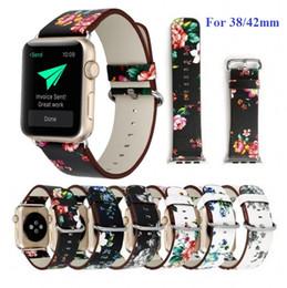 Mujeres pastoral impresión de la flor hermosa correas de reloj de cuero correas para apple watch iwatch series 1 2 3 38mm 42mm correas de reloj desde fabricantes