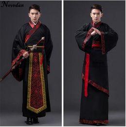 Ternos pretos homens china on-line-Costumes Suit Estágio Nacional Chinês Hanfu Preto China antiga Costume Hanfu Homens Roupa Tradicional Tang Nacional