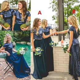 Sparking Paillettes Due pezzi abiti da damigella d'onore Paese Shinning mix match Lo stesso colore diverso stile Wedding Guest Dress Cheap Maid Of Honor supplier same bridesmaid dresses different styles da stessa damigella d'onore stili diversi fornitori