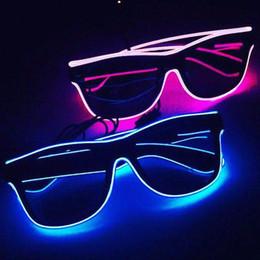 2019 мигающие новинки очки Новые мигающие очки EL Wire LED очки светящиеся праздничные атрибуты освещения новинка подарок яркий свет фестиваль ну вечеринку светятся солнцезащитные очки дешево мигающие новинки очки