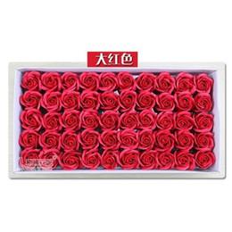 Saponi decorativi favori di nozze online-50pcs / set fiori artificiali rosa sapone capolino fiore petalo per bomboniere e regalo san valentino ghirlande decorative