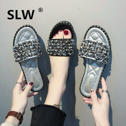 Discount creeper sandals - spring Slides women Rivet Wedges Crystal slipper  wedge Flat woman rhinestone sandals b5fd0b8e2012