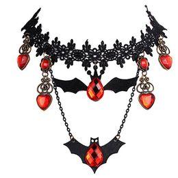 2019 brincos de morcego Novos Collares Gargantilha de Renda de Halloween Brincos Colar Morcego de Cristal Vermelho Vintage Gargantilhas Colares Pingentes Declaração de Jóias de Presente Presente Wholesa brincos de morcego barato