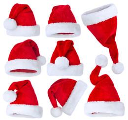Chapéu bonito das crianças on-line-Personalizado de alta qualidade bonito Plush Red Natal White Hat Velvet Produtos de Natal para crianças e adultos