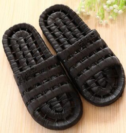 linen slippers Coupons - Top men Summer bathing leak hollow bathroom slippers,Linen Lace fish bone plastic couples home massage sandals,Bathroom fashionable Shoes