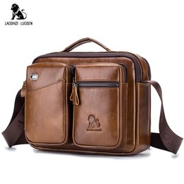 LAOSHIZI LUOSEN Messenger Bag Men Shoulder Bag Genuine Leather Business Male  Crossbody Bags for Men Cross Body Handbags New 96610490818ea