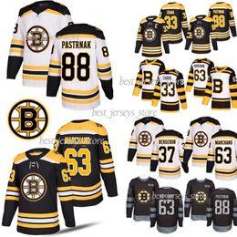 Chara de hockey maillot en Ligne-Boston Bruins Hockey Chandails 33 Zdeno Chara 4 Bobby Orr 88 David Pastrňák 63 Brad Marchand 37 maillots Patrice Bergeron