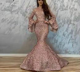 2019 voller federrock 2020 Klassische Abendkleider wulstige Sequined Nixe-Abschlussball-Kleid mit langen Ärmeln formale Abschlussball-Kleider nach Maß
