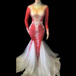 Piedras rojo brillante del copo de la gasa de la cola del vestido de partido de los vestidos de la celebridad de cumpleaños de las mujeres traje de la danza del delirio cantante Equipo Atractivo desde fabricantes