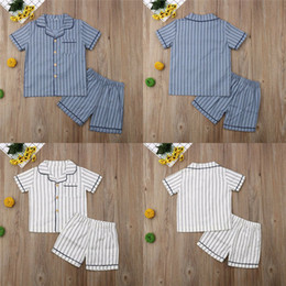 2019 weihnachten nightgown 3t Neueste Kind Jungen Sommer Baumwolle Striped Pyjamas Kinder Homewear Loungenachtwäsche-Sets Nightgown 2-7T