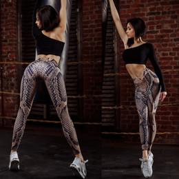 Leggings serpientes online-Ropa de mujer Pantalones de mangas Polainas delgadas de piel de serpiente Pantalones de chándal estampados Pantalones de yoga
