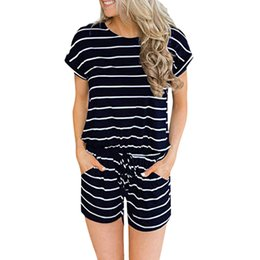 striped jumpsuits for women Promo Codes - sumemr Casual striped Rompers with Pockets Women's Jumpsuit Loose Short Sleeve playsuit Elastic Waist Overalls for women 2019