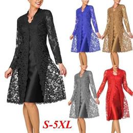 herbst sommer charmante kleider Rabatt 2019 Frauen-Sommer-Herbst Zwei Stücke Charming Kleid Normallack-Partei-Kleid plus Größen-Büro-Dame-Kleid-lange Hülsen-Spitze