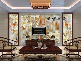 Orchidea 3d online-formato personalizzato 3d foto carta da parati soggiorno murale fioritura ricco orchidea giada intaglio 3d foto divano TV sfondo carta da parati non tessuto adesivo