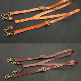 Reggicalze in pelle per gli uomini online-Bretelle cuoio genuino degli uomini 1.9CM Bretelle larghezza 132 centimetri gancio lungo