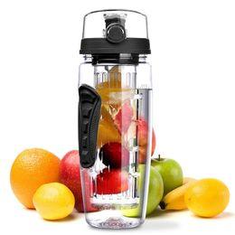 2020 botella de agua de fruta libre de bpa 32 oz 900 ml BPA Libre Fruta Infusor Jugo Shaker Deportes Limón Botella de agua Tour Senderismo Portátil Escalada Botellas Campamento botella de agua de fruta libre de bpa baratos