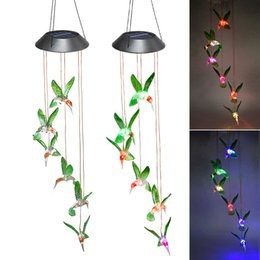 solar light chimes Coupons - Outdoor LED Solar Lamps Wind Chime Light Solar Powered Color-Changing Hummingbirds dragonfly Wind Home Garden Decor Solar Garden Lights