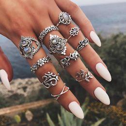 Antikes Silber Knuckle Ring Set Elefant Blume Krone Blatt Yoga Stapeln Ringe Midi Ringe Frauen Designer Ring Schmuck Will und Sandy 080432 von Fabrikanten