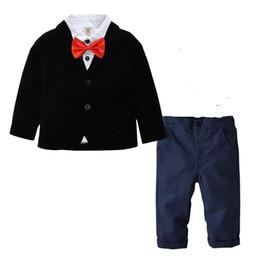 weiße formale hemdjungen Rabatt Jungen Kleidung Set Anzug Gentleman Solide Einreiher Weißes Hemd Hosen Bogen Kinder Designer Kleidung 1-7 T 08