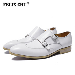 New Genuine Cow Leather Slip On Men Dress Shoes Party Wedding Banquet Elegant Male Formal Shoes White Buckle Strap Flats от