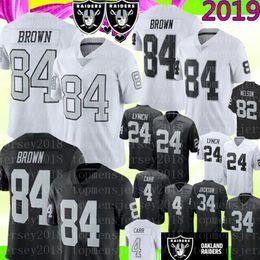 Oakland 84 Maillots Antonio Brown Raiders Hommes 24 Marshawn Lynch 4 Maillots de Football Derek Carr 2019 Nouvelle Broderie Noir et Blanc ? partir de fabricateur