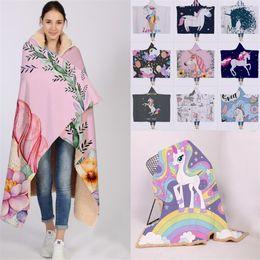 цифровая печать текстиль Скидка Мода Единорог серии зимняя шапка одеяло плащ утолщенные двухслойные плюшевые 3D цифровая печать досуг одеяло домашний текстиль T5I6034
