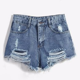 blue jeans chicas calientes Rebajas 2018 marca Vintage Ripped Hole Fringe Blue Denim mujer Casual Pocket Jeans Summer Girl Hot Shorts moda Sexy C19041102