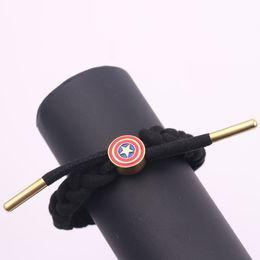Hot 4 Captain Shield Handmade braccialetto rosso nero in pelle corda catena moda donna uomo fascino bracciali avvolgere i gioielli da