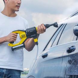 промывочная пробка Скидка Мощное давление Ручной автомобилей водяной пистолет 2.2MPA Половодье 21V 1A Rechargable Flush Gun Window Pet Открытый Очистка инструмента ЕС Plug
