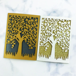 pop up easter cards Coupons - 15pcs Sample Laser Cut Wedding Invitations Card 3D POP-UP Elegant Tree Leaf Greeting Card Wedding Party Favor Supplies