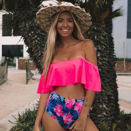 2019 biquíni ruffles ombros Cintura alta Sexy Swimwear Mulheres Swimsuit Off Ombro Maiô Biquini Ruffle Biquíni Brasileiro Conjunto Beachwear biquíni ruffles ombros barato