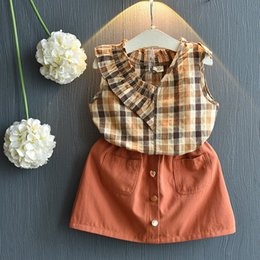 Argentina Hot new 2019 summer children girls suit tide fan plaid camisa marrón falda cheap brown suit skirt Suministro