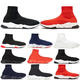 red socks fashion Promo Codes - 2019 designer Speed Trainer fashion Luxury men women Sock Shoes black white blue oreo Flat mens sport Runner sneakers size 36-45