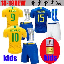 Thailand World Cup 2018 kids kit Coutinho Gesus Firmino Home Soccer Jerseys  Brazil Futbol Camisa Brasil Football Camisetas Shirt Kit Maillot d12ad1972