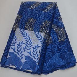 2019 tessuto pizzo nigeriano blu royal Tessuto del merletto di modo africano di alta qualità guipure Royal Blue nigeriano tessuto di tulle per il vestito da partito 2019 Francese netto Lace 5yards tessuto pizzo nigeriano blu royal economici