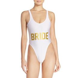 traje de baño para mujer de una pieza Rebajas Novia blanca Carta de Oro Bikini Sexy Traje de baño de una pieza Traje de baño Sin espalda Traje de verano Mujeres Body Mamelucos Womens Jumpsuit