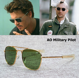 2020 marcas de gafas de sol militares AO lente de cristal Marca Army MILITARY Gafas de sol ópticas americanas James Bond Men 12K chapado en oro aviación Caravan Crystal G15 Gafas de sol marcas de gafas de sol militares baratos