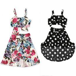 Jupe à pois en Ligne-Été nouvelles filles sling polka dot sling top épaule + jupe irrégulière floral costume deux pièces robe de créateur pour enfants costume M115