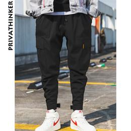 disfraces masculinos de fantasia Rebajas Privathinker Hombres Negro chándal pantalones de verano 2019 para hombre de grandes bolsillos Ankel Carga Pantalones Hombre Primavera Streetwear Trajes de pantalón V191019