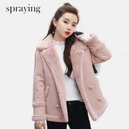 2019 casaco de lã e lã Nova lã Moda mulheres casaco quente curto parka de manga longa de lã Double Breasted casaco de inverno e início da primavera roupas casaco de lã e lã barato