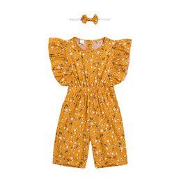 2019 combinaisons robes de style haute été jaune couleur impression floral combinaison legging robes enfants tenue décontractée vêtements de bébé doux avec bandeau promotion combinaisons robes de style