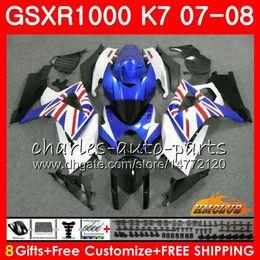 2019 carenado k7 Cuerpo para SUZUKI GSXR-1000 azul de fábrica CALIENTE GSX-R1000 GSXR1000 07 08 Carrocería 12HC.36 GSX R1000 07 08 K7 GSXR 1000 2007 2008 Kit completo de carenado carenado k7 baratos
