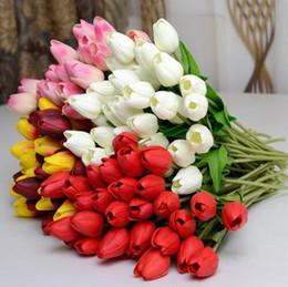 buquês de flores de tulipa Desconto Eco-Friendly 23 CORES PU Tulipa buquê de noiva festa em casa decorativo flores artificiais 20 pçs / lote