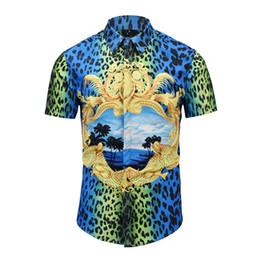 2019 camisas de vestido dos homens da cópia do leopardo Verdadeiro Revólver design de verão homens camisas de manga curta moda blusa de impressão com estampa de leopardo party dress camisas homem casual tops desconto camisas de vestido dos homens da cópia do leopardo