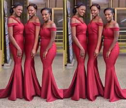 African Long Mermaids Bridesmaid Dresses 2019 New Off The Shoulder Floor  Length Sleeveless Wedding Gowns Bridesmaid Dresses 0643f21f4856