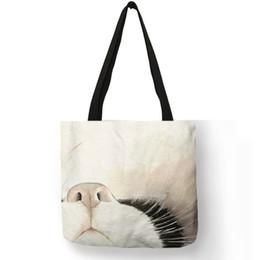 Handgemalte taschentaschen online-Aquarell handgemalte Tragetaschen Floral Cute Cat Print Umhängetasche für Frauen Lady Office Handtasche Daily Casual Shopping Bags