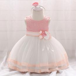 Vestido de princesa de 12 meses online-2019 Summer Baby Girls Dress para niñas Princess Dress Infant Wedding First Birthday Girl Party Clothes Ropa 6 12 meses