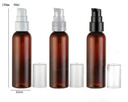 Argentina 30 x 60ml Venta caliente Amber Brown PET Loción Bomba Botella 60cc Champú y envase de plástico cosmético supplier brown shampoo Suministro
